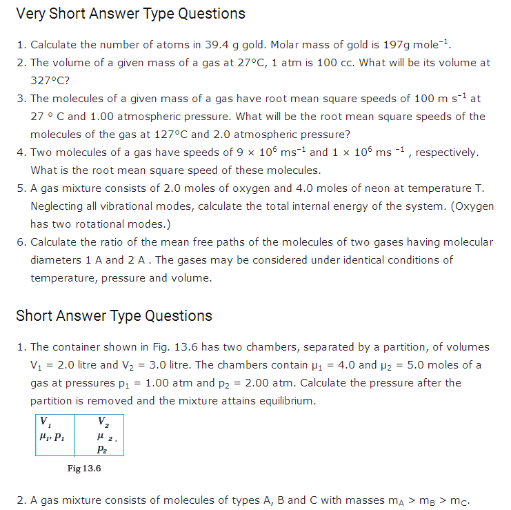 important questions class 11 physics chapter 12 kinetic theory 1