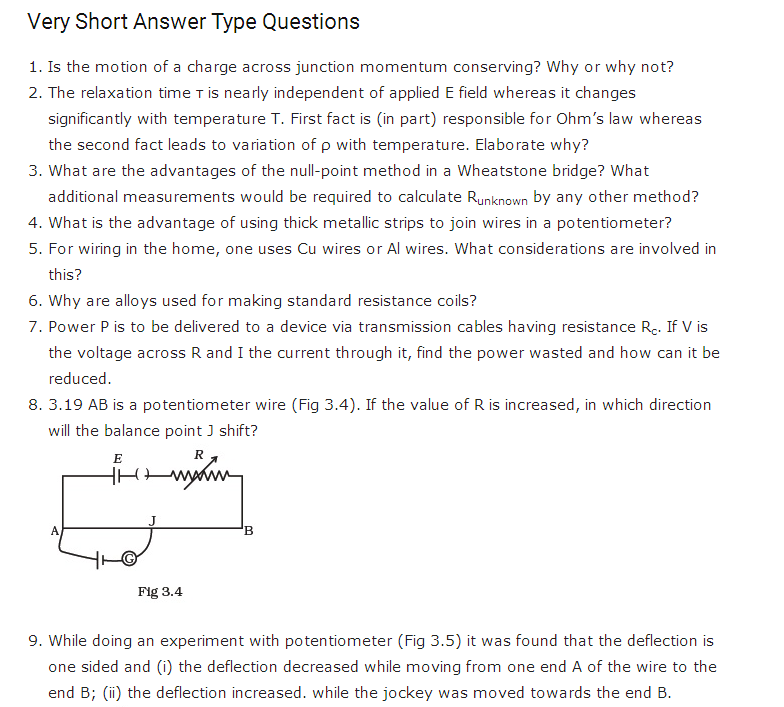 important questions class 12 physics chapter 3 current electricity 1