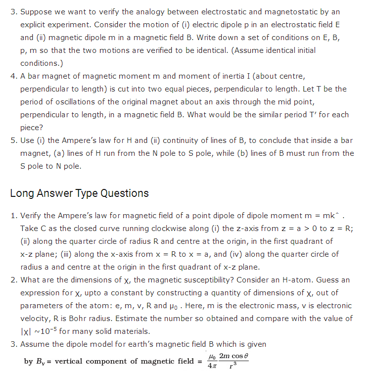 important questions class 12 physics chapter 5 magnetism matter 2