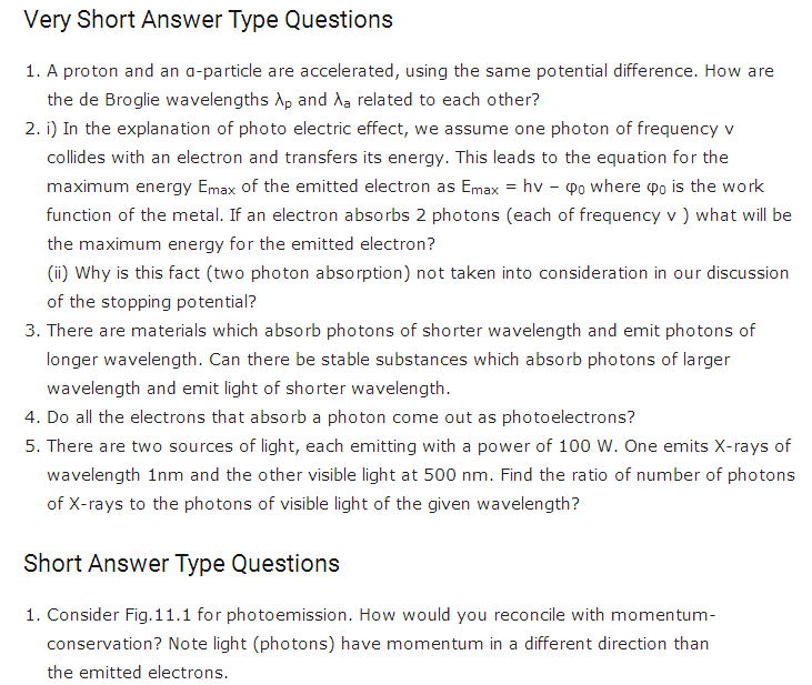 important questions class 12 physics chapter 11 dual nature radiation matter 1