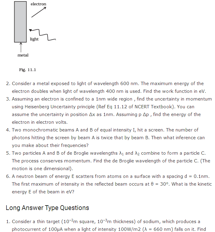 important questions class 12 physics chapter 11 dual nature radiation matter 2