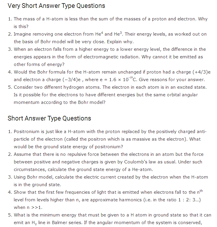 important questions class 12 physics chapter 12 atoms 1