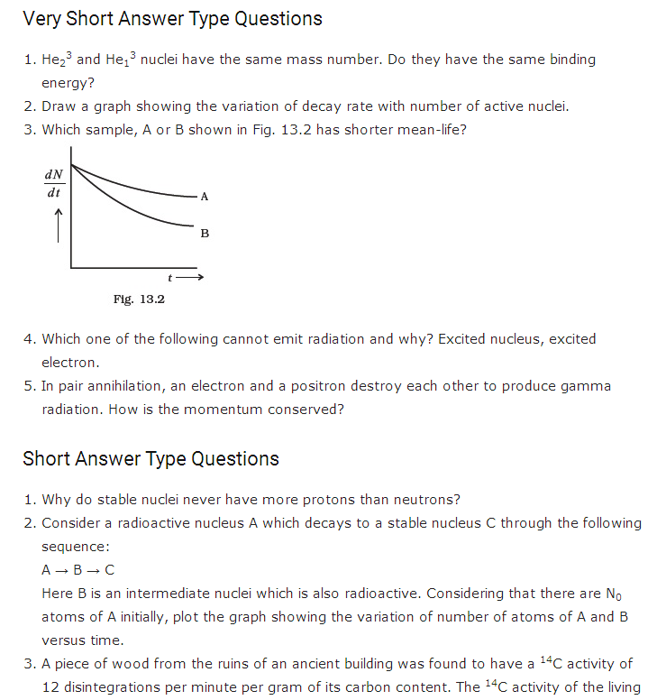important questions class 12 physics chapter 13 nuclei 1