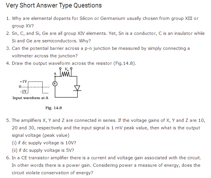 important questions class 12 physics chapter 14 semiconductor electronics materials 1