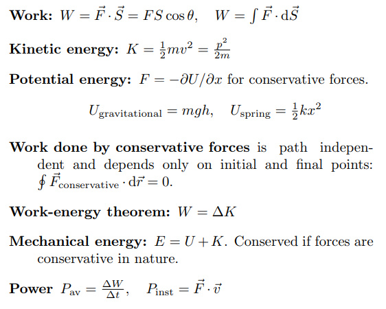 Physics Formulas For Class 11 - Physics Formulas List