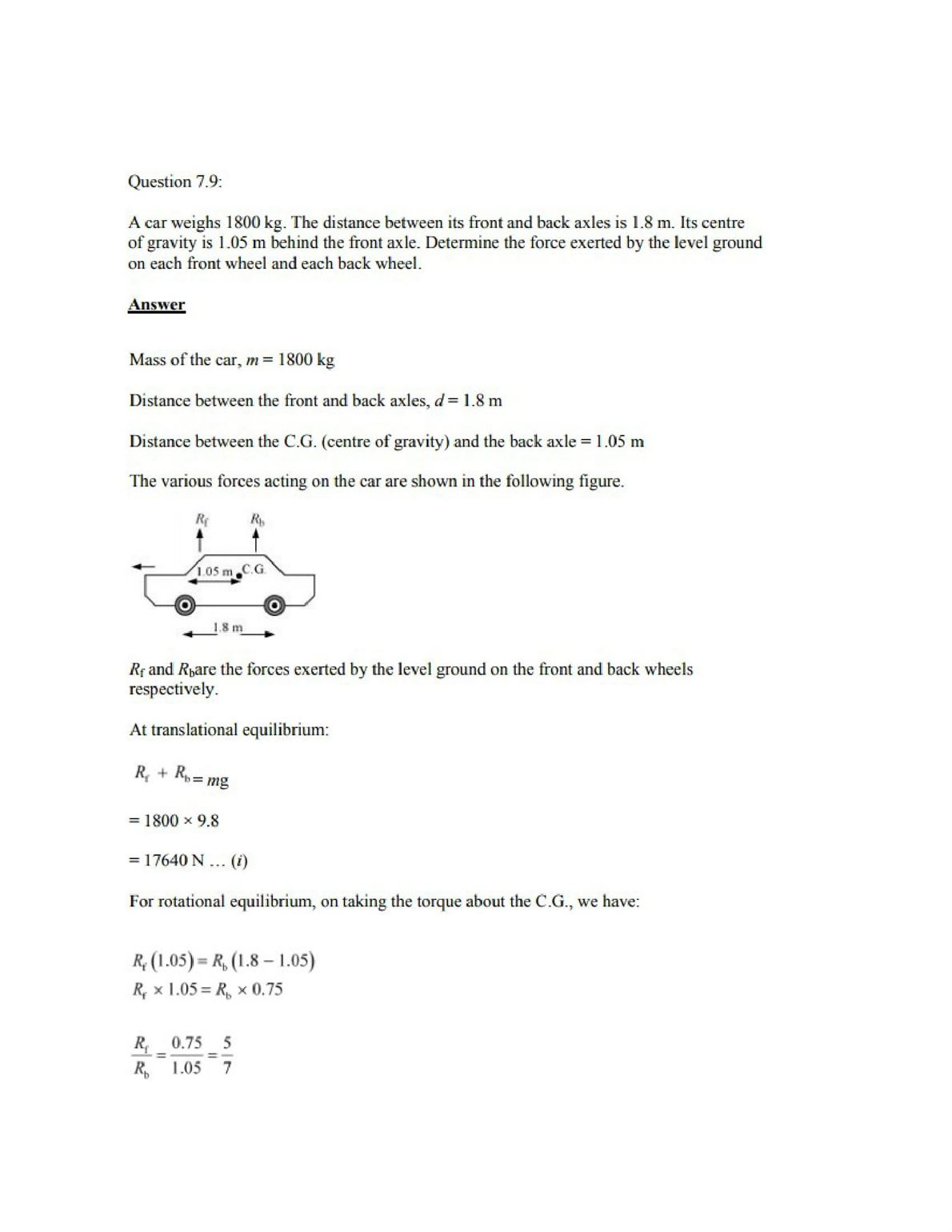 Physics Numericals Class 11 Chapter 7 9