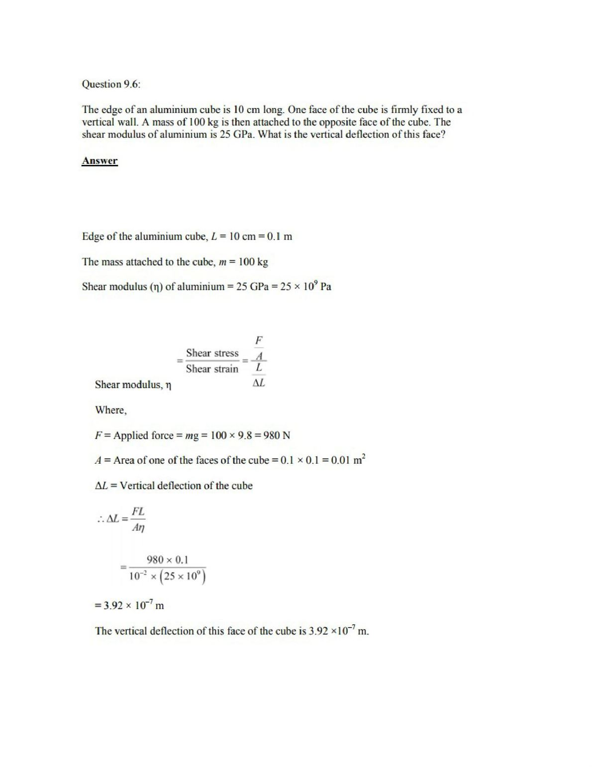 Physics Numericals Class 11 Chapter 9 8width=
