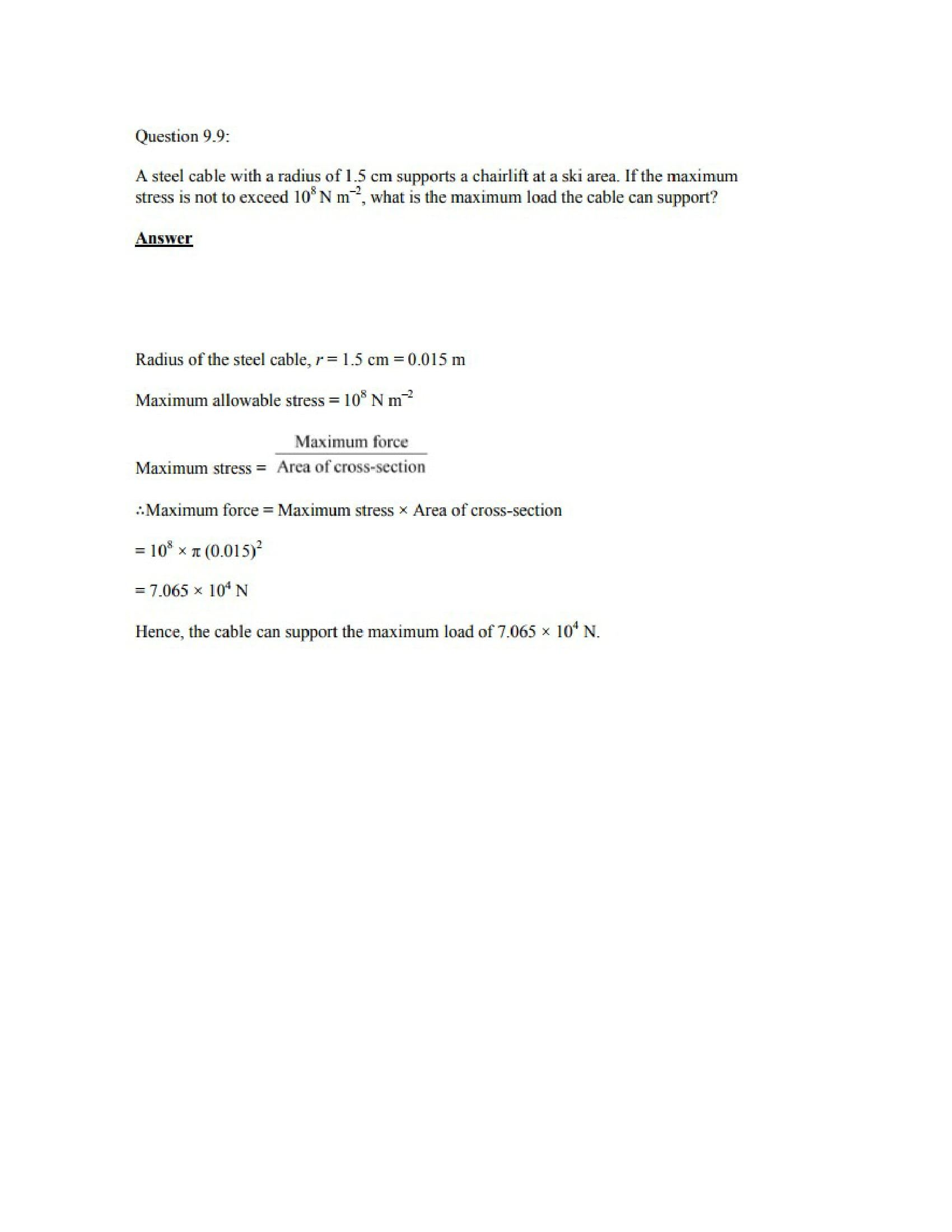 Physics Numericals Class 11 Chapter 9 11width=