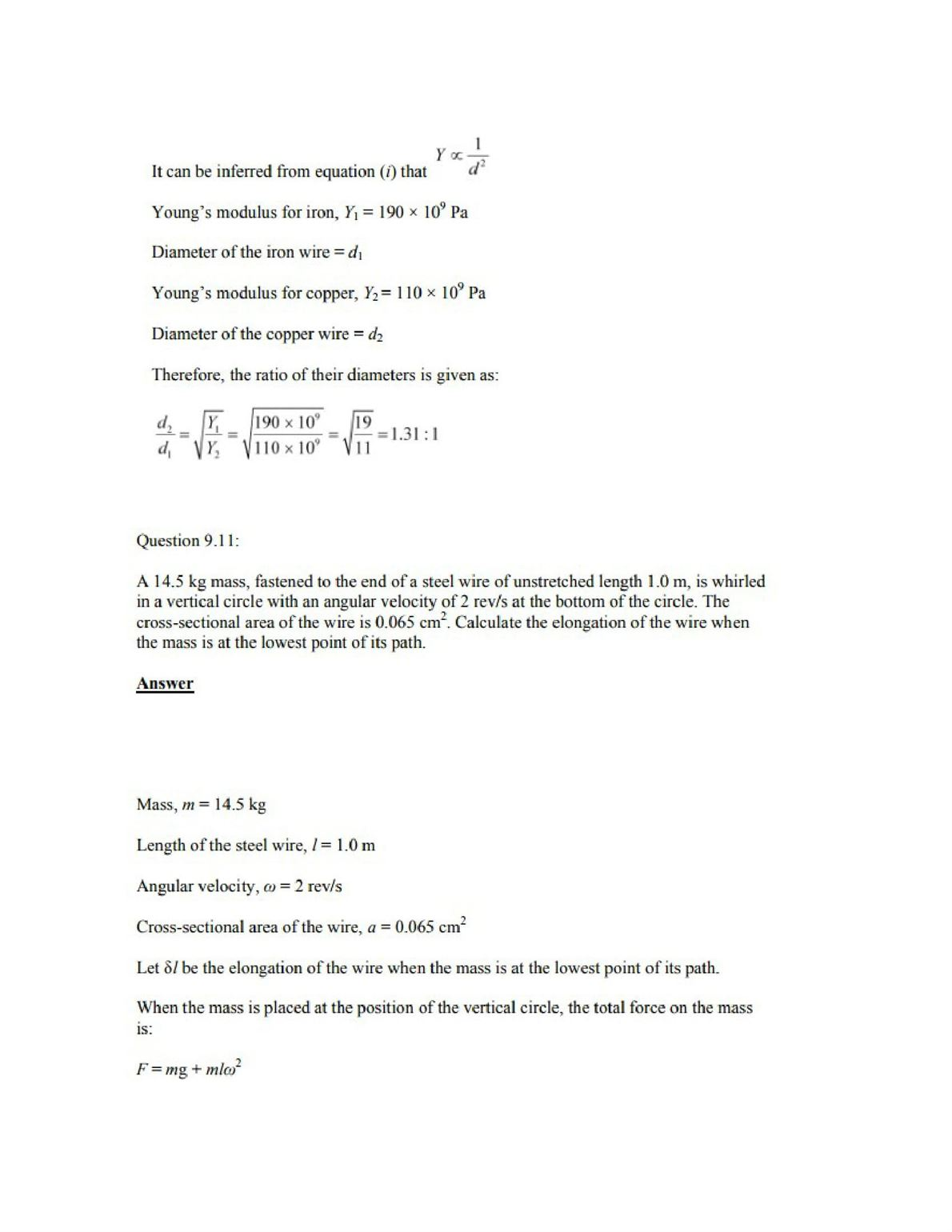 Physics Numericals Class 11 Chapter 9 13width=
