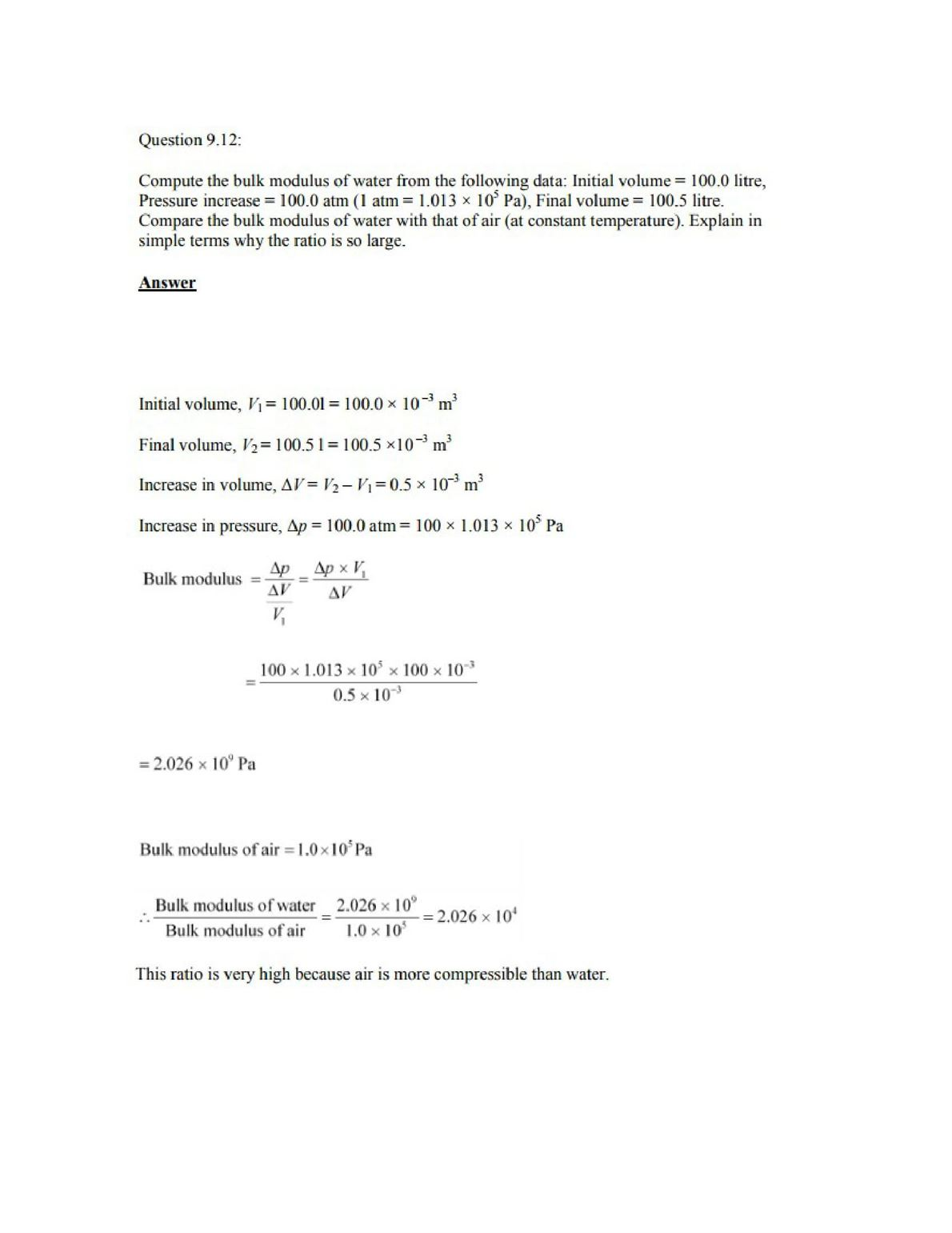 Physics Numericals Class 11 Chapter 9 15width=