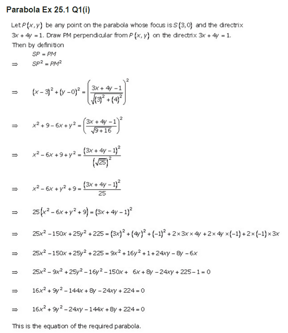 RD Sharma Class 11 Solutions Maths Chapter 25 Parabola