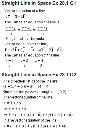 RD Sharma Class 12 Solutions Maths Chapter 28 Straight Line In Space