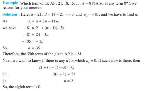 Arithmetic Progression Class 10 Notes Chapter 5- nth Term Example