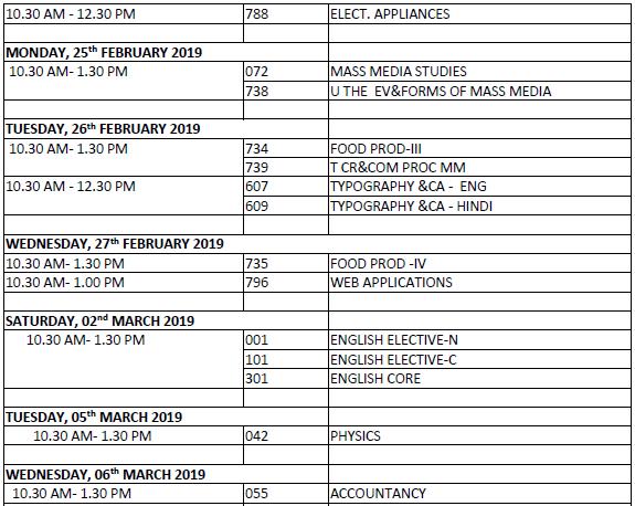 CBSE Class 12 Date Sheet