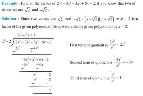 Polynomial For Class 10 Example Questions