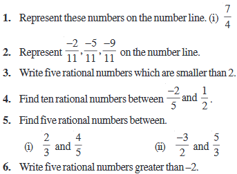 Important Questions Rational numbers
