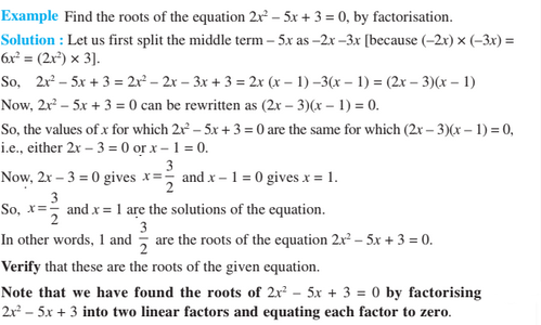 solution of a Quadratic equation by Factorization