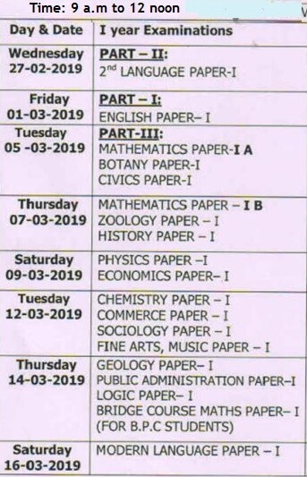 AP Intermediate 1st Year Time Table 2019