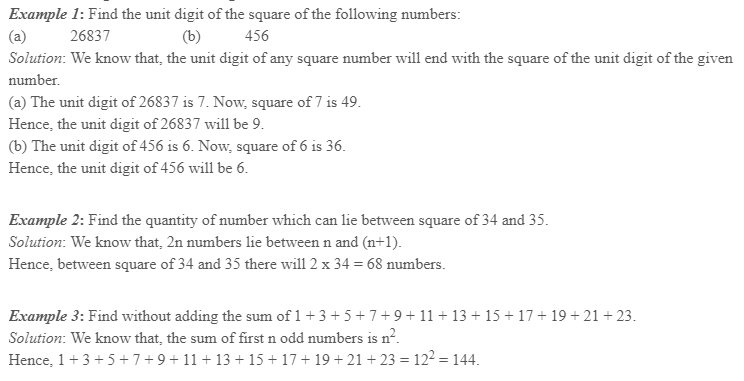Squares and Square Roots Class 8 Notes