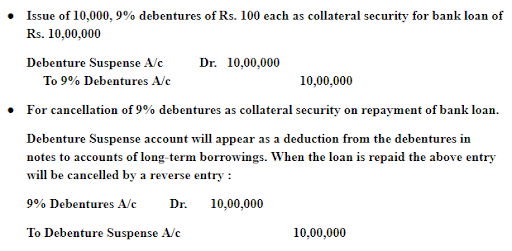 Issue of Debentures as a Collateral Security