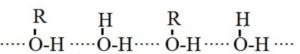 Hydrogen bonding in alcohols