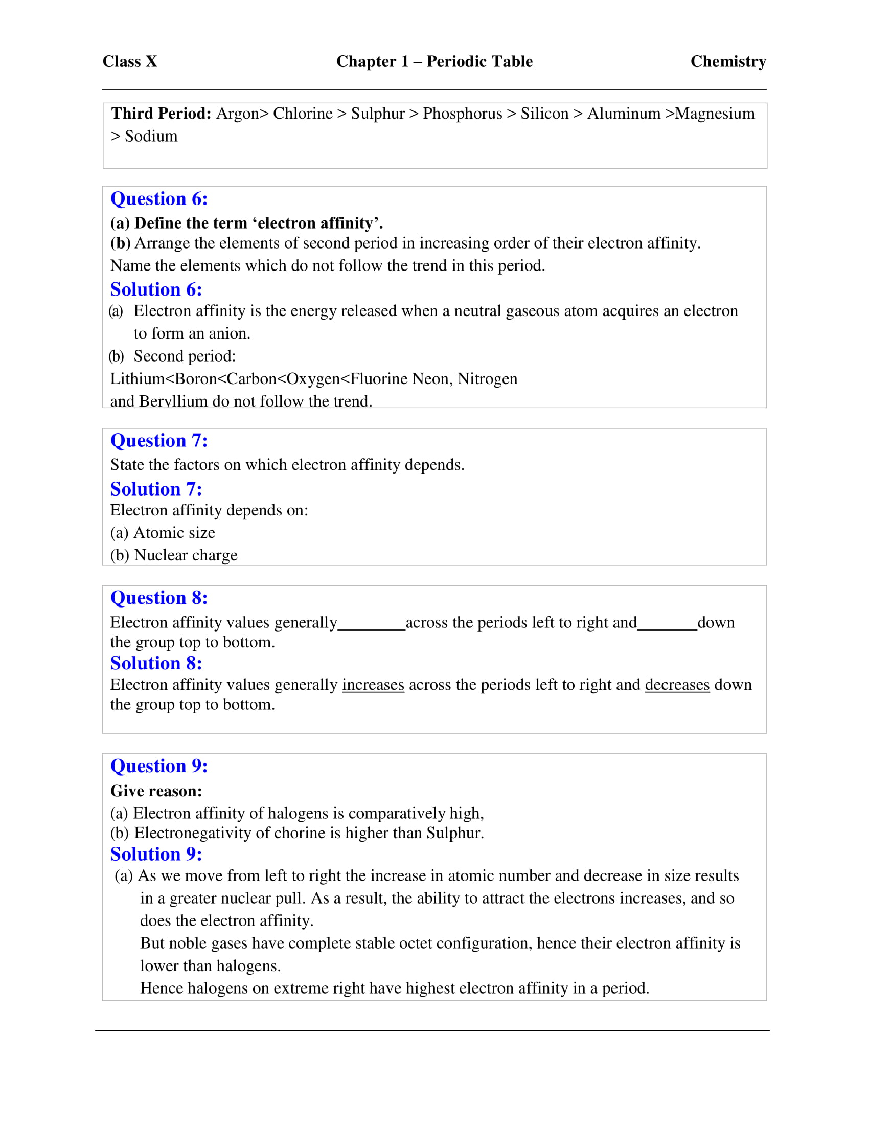 ICSE Solutions For Class 10 Chemistry Chapter 1 - Download
