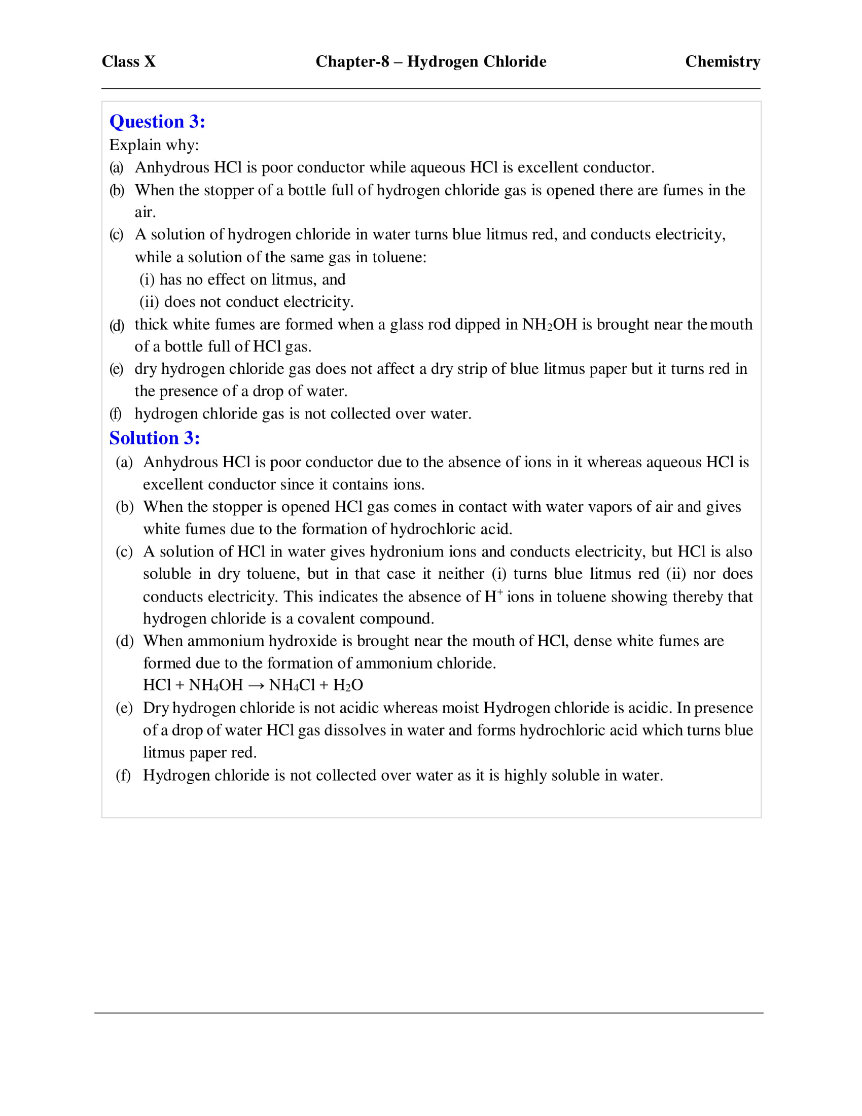 ICSE Solutions For Class 10 Chemistry Chapter 8 - Download