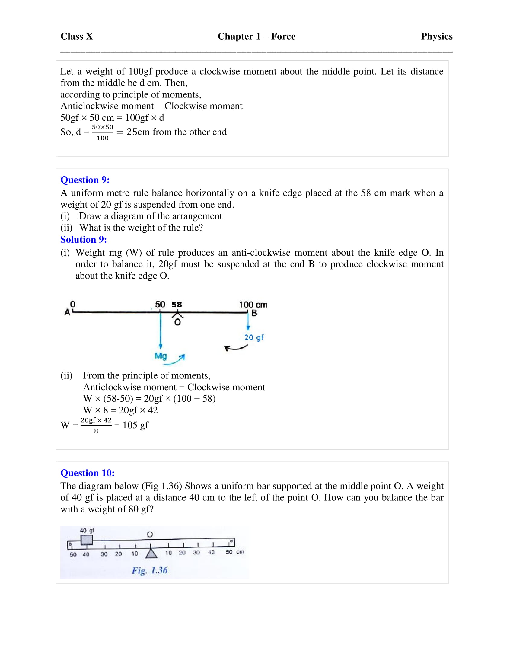 Selina Solutions Class 10 Concise Physics Chapter 1 Force