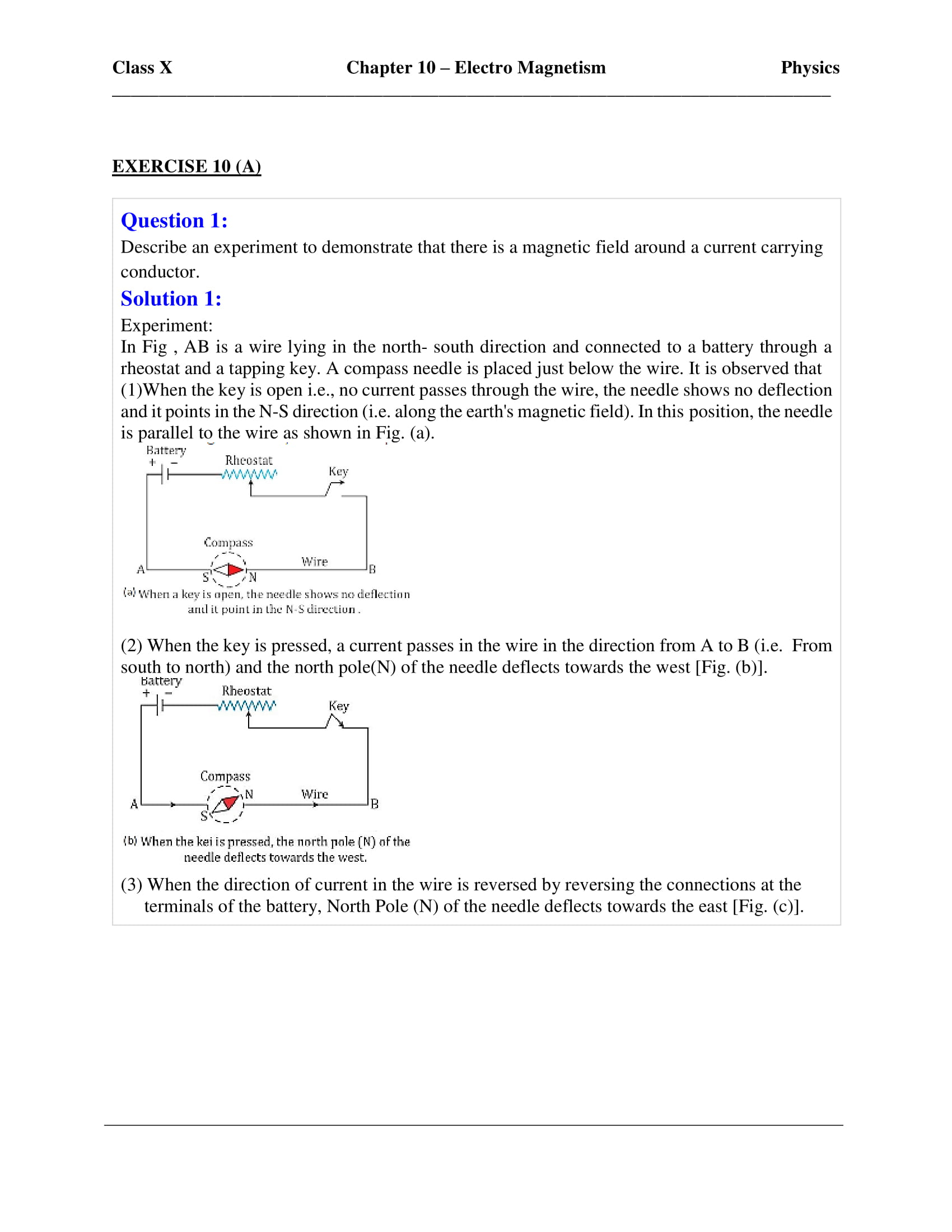 ICSE Solutions Class 10 Physics Chapter 10 Electromagnetism - Free
