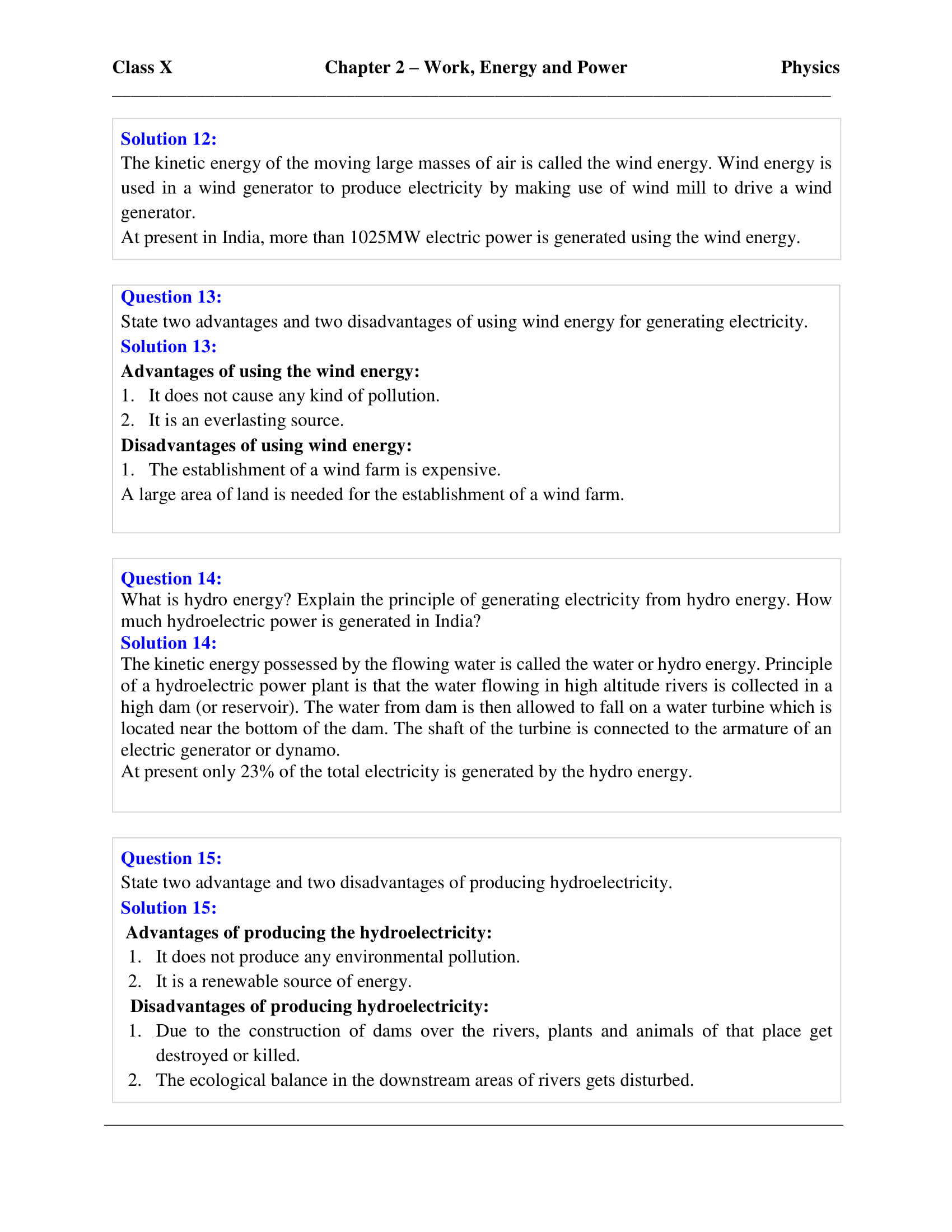 ICSE Solutions Class 10 Physics Chapter 2 Work Energy Power