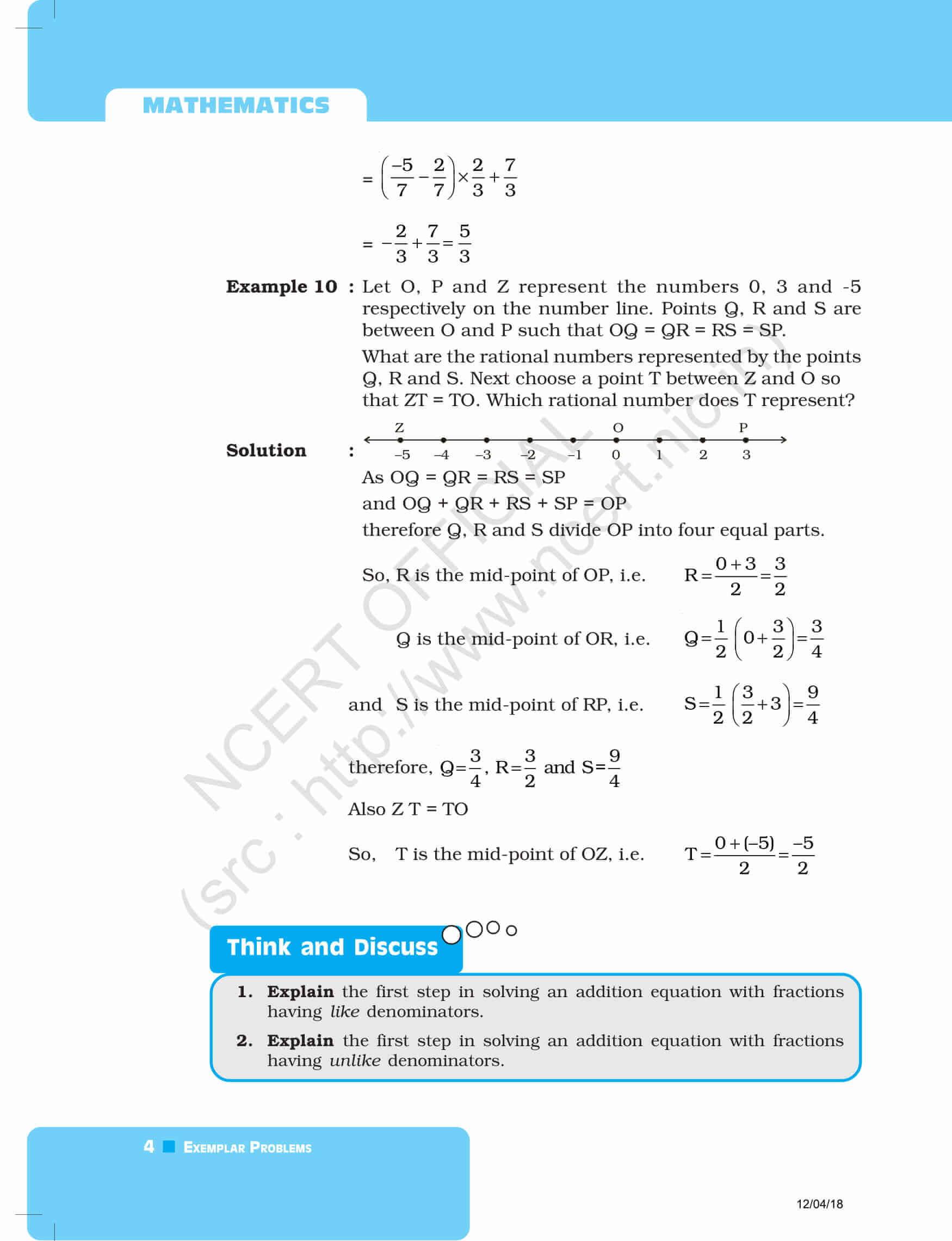 NCERT Exemplar Class 8 Maths Solutions Chapter 1 -Rational Numbers