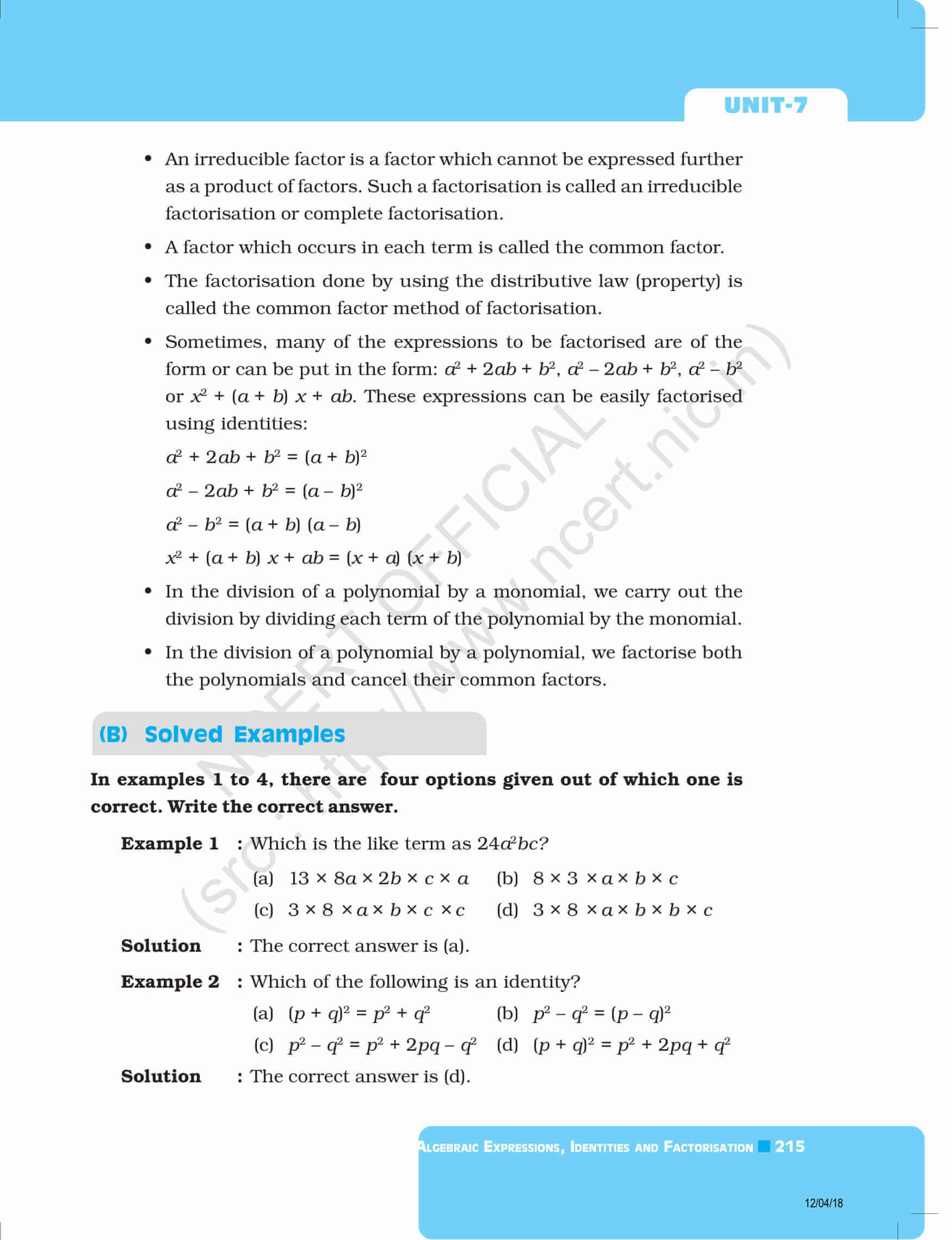 NCERT Exemplar Class 8 Maths Solutions Chapter 7 - Algebraic