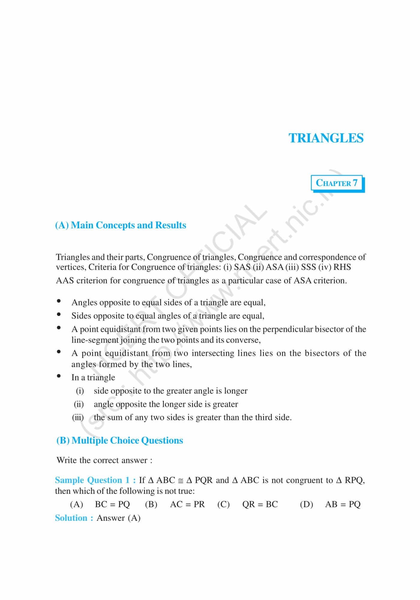 NCERT Exemplar Solutions Class 9 Mathematics Chapter 7