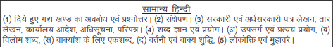 General Hindi syllabus for UPPSC Mains 2019