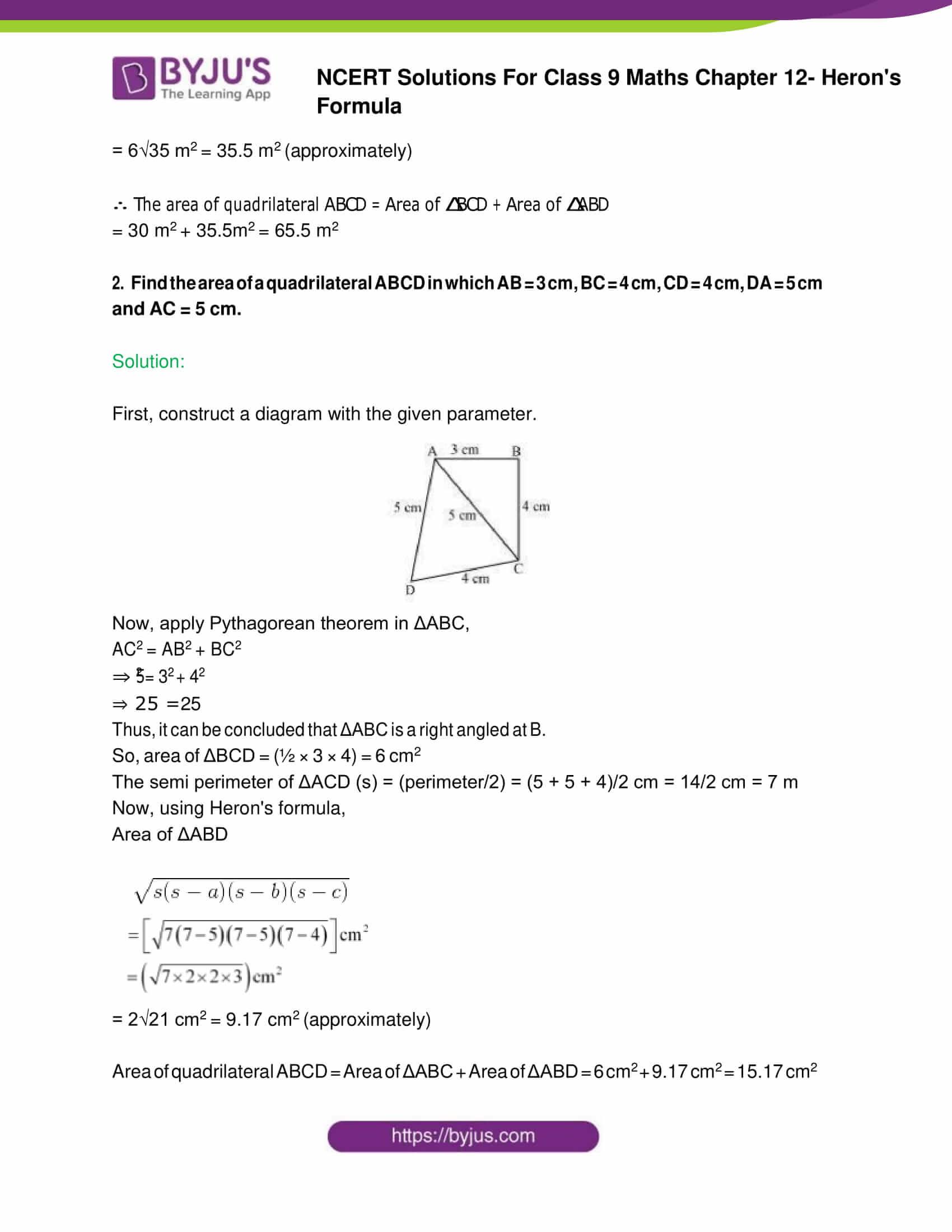 NCERT Solution Class 9 Maths Chapter 12 Herons Formula Exercise 12. 2 Part 2