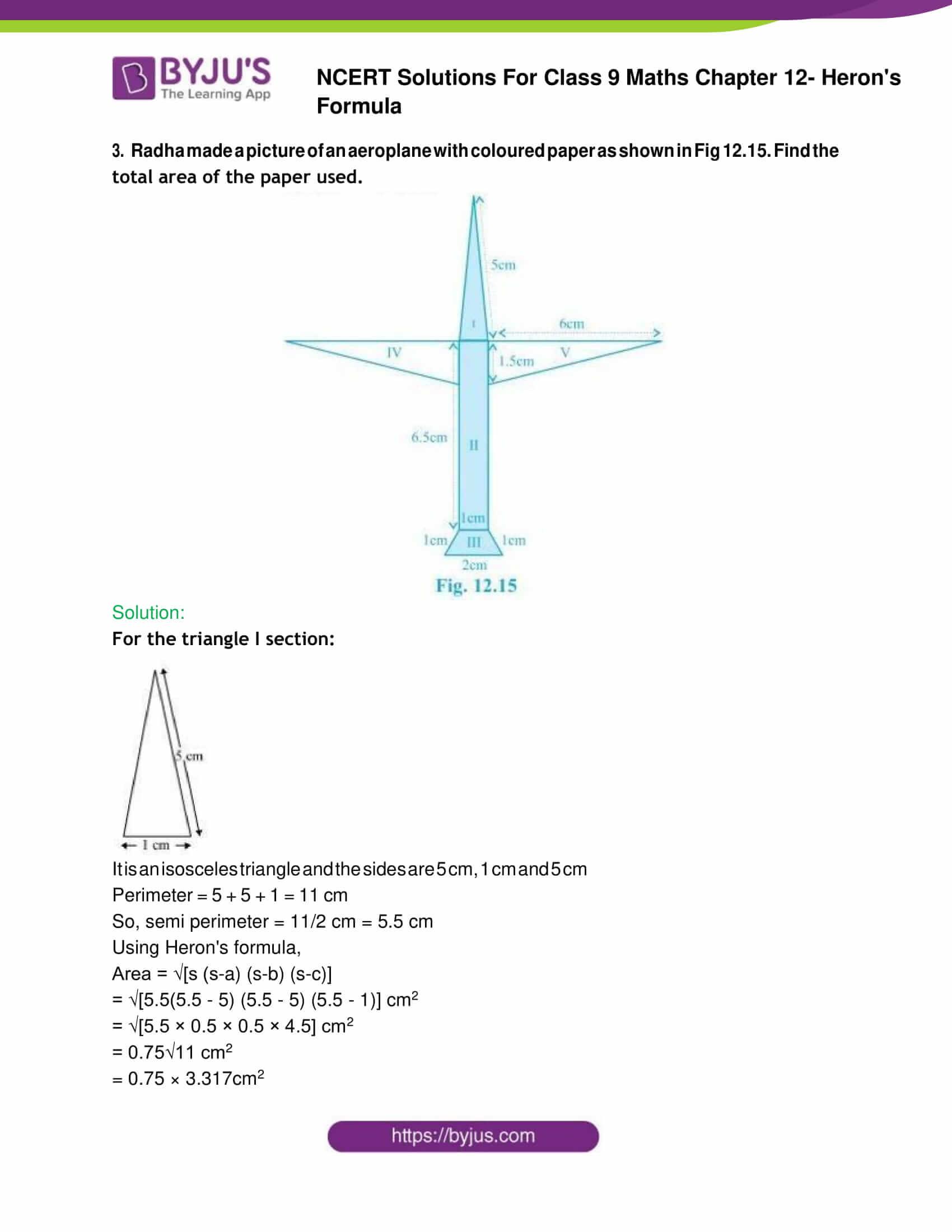 NCERT Solution Class 9 Maths Chapter 12 Herons Formula Exercise 12. 2 Part 3