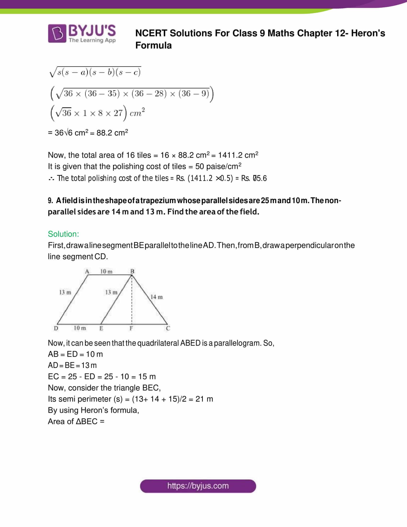 NCERT Solution Class 9 Maths Chapter 12 Herons Formula Exercise 12. 2 Part 8