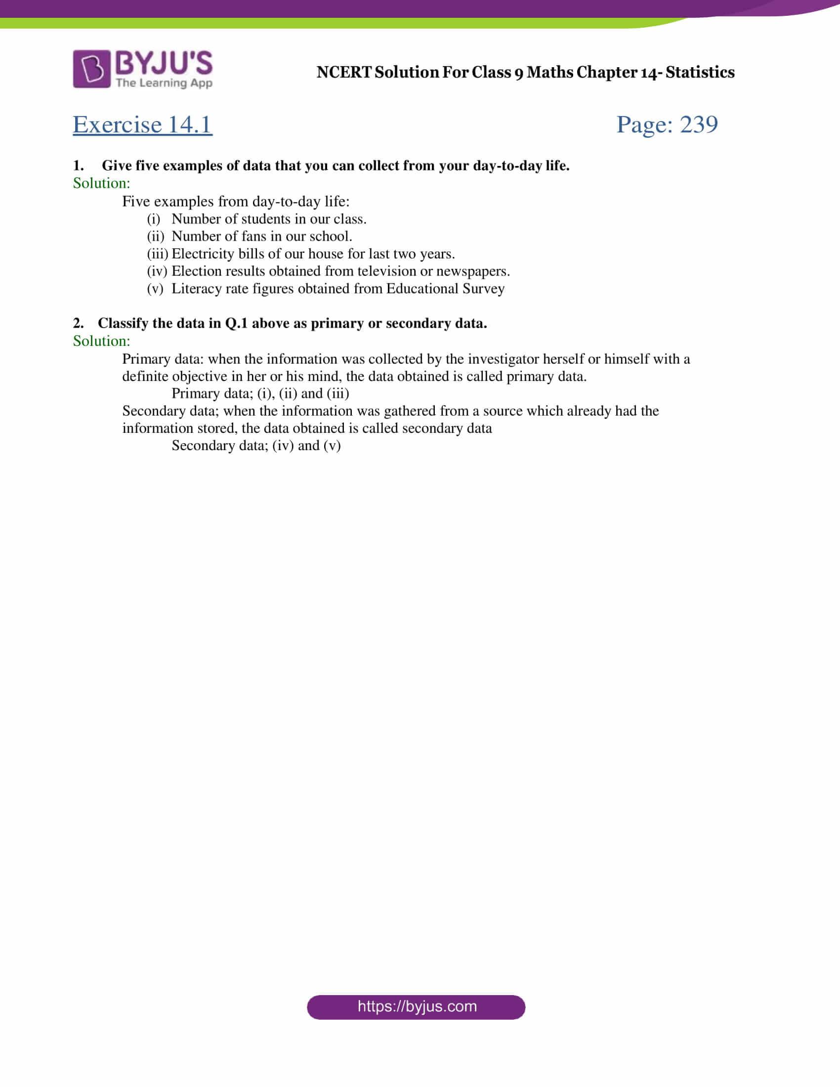 NCERT Solution Class 9 Maths Chapter 14 Statistics Exercise 14.1 Part 1