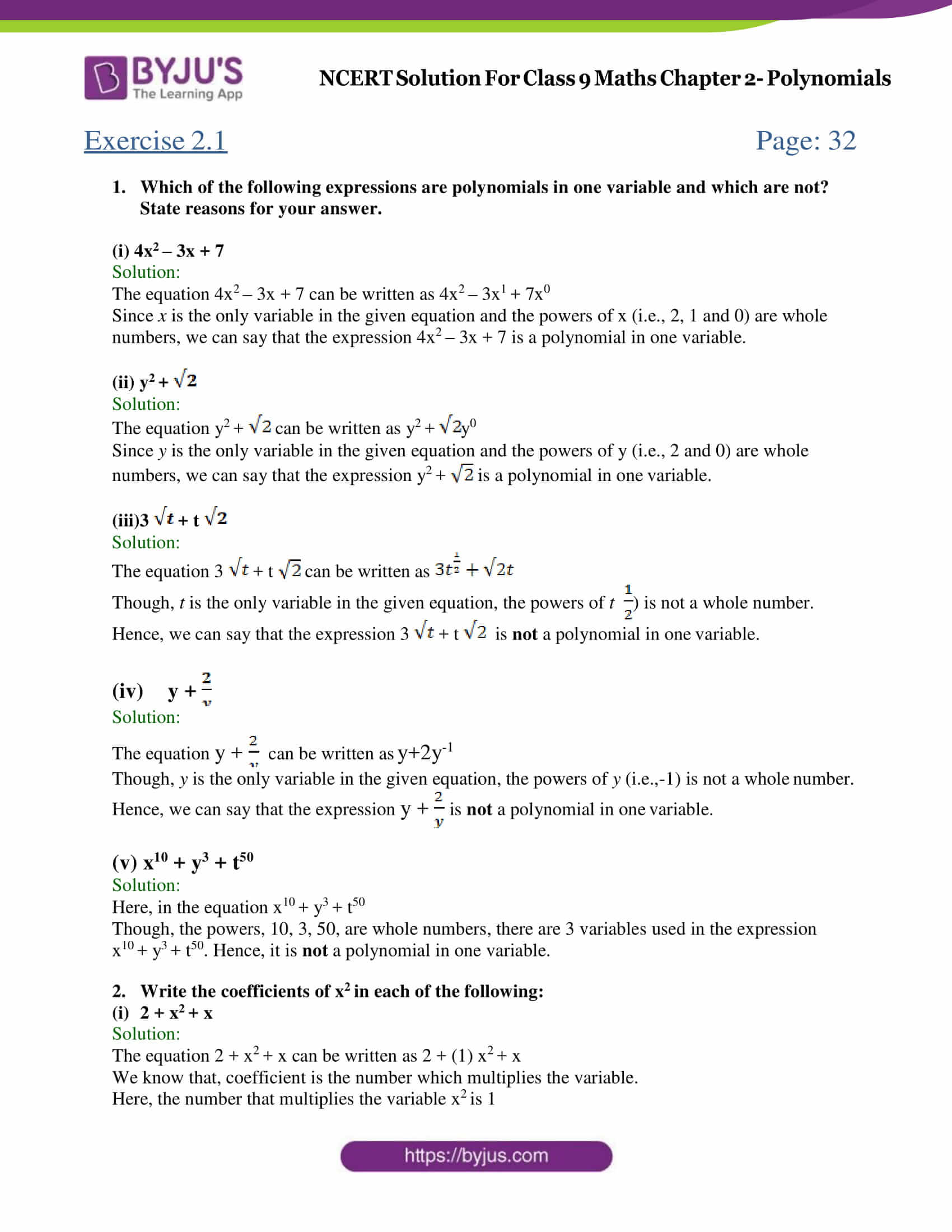 NCERT Solutions for Class 9 Maths Exercise 2 1 Chapter 2