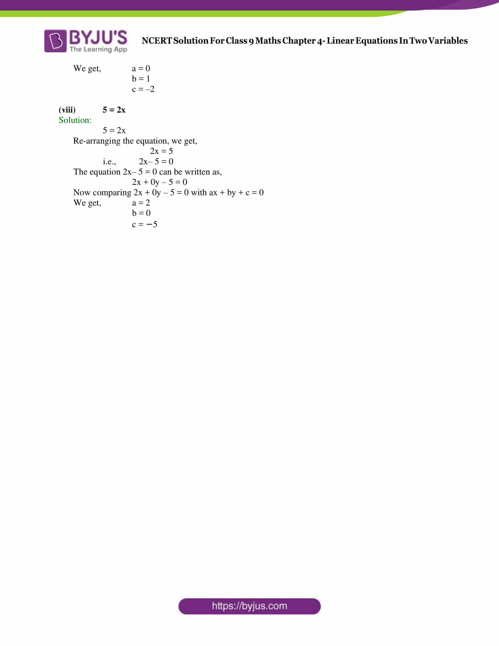 NCERT Solution Class 9 Maths Chapter 4 Linear equations in 2 variables Exercise 4.1 Part 3