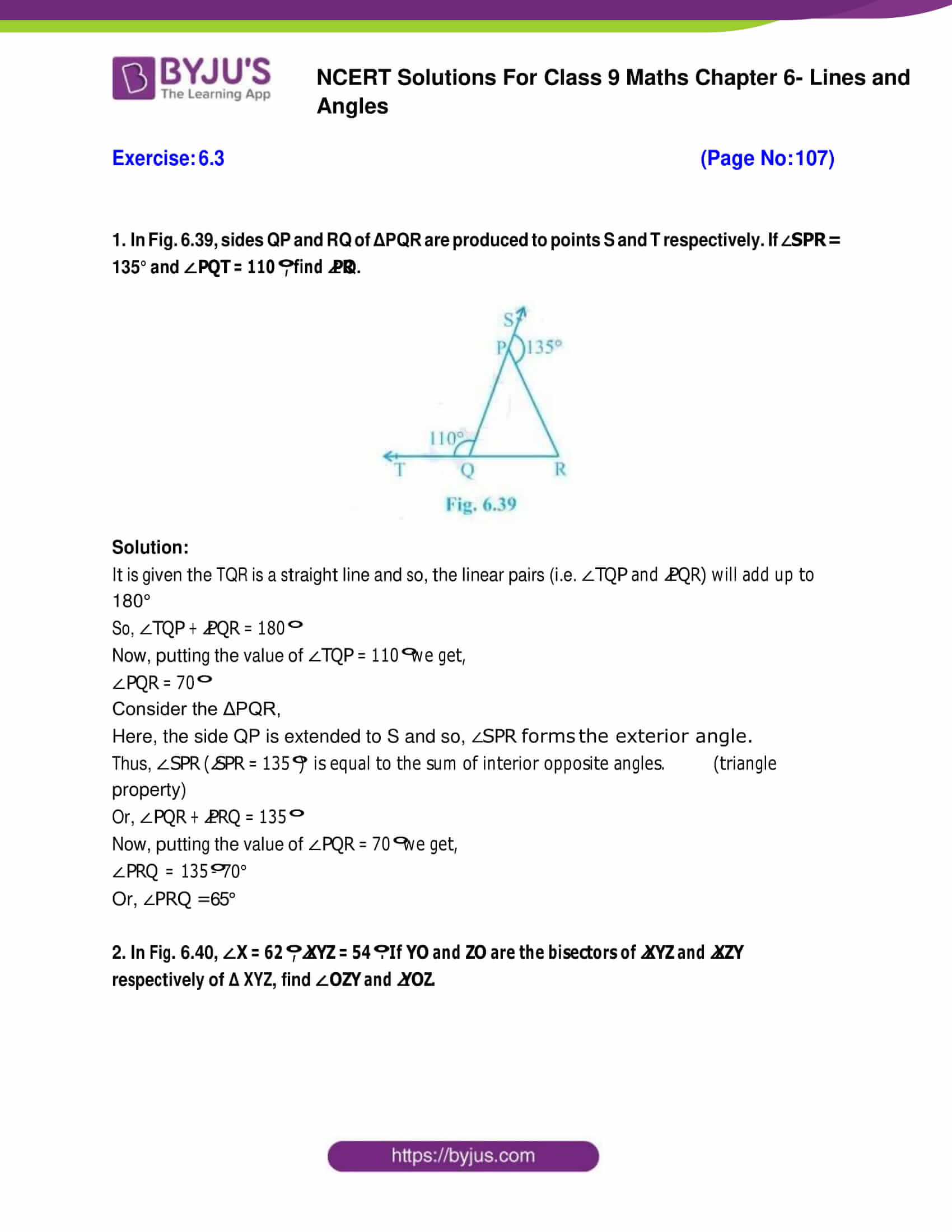 Ncert solutions for class 9 maths chapter 6 exercises
