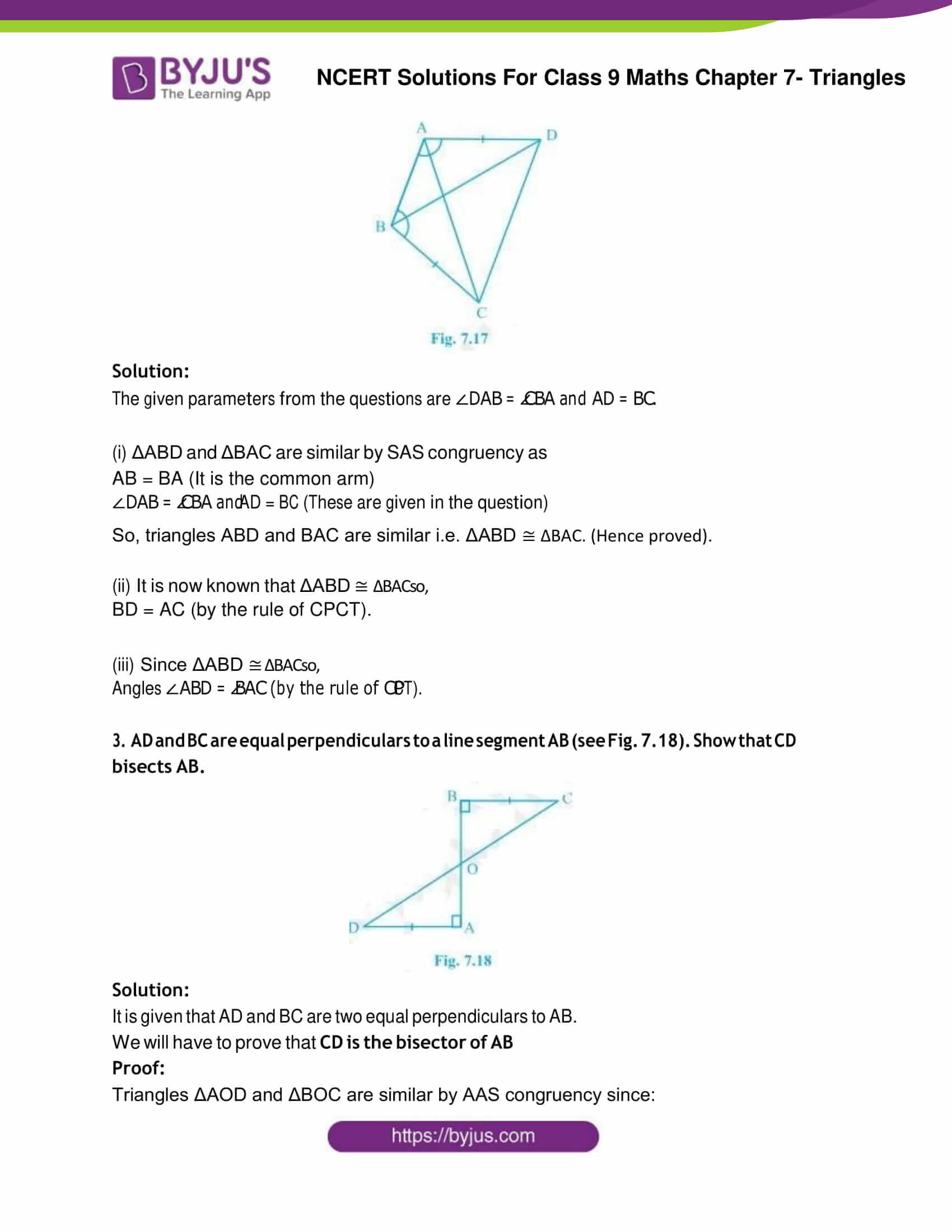 NCERT Solution Class 9 Maths Chapter 7 Triangles Exercise 7.1 Part 2