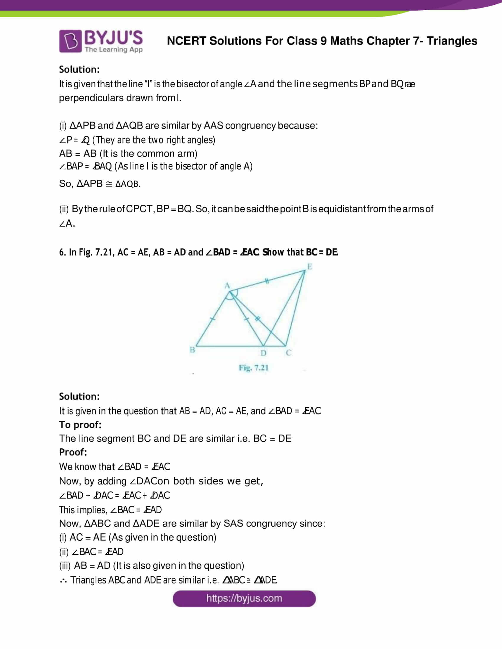 NCERT Solution Class 9 Maths Chapter 7 Triangles Exercise 7.1 Part 4