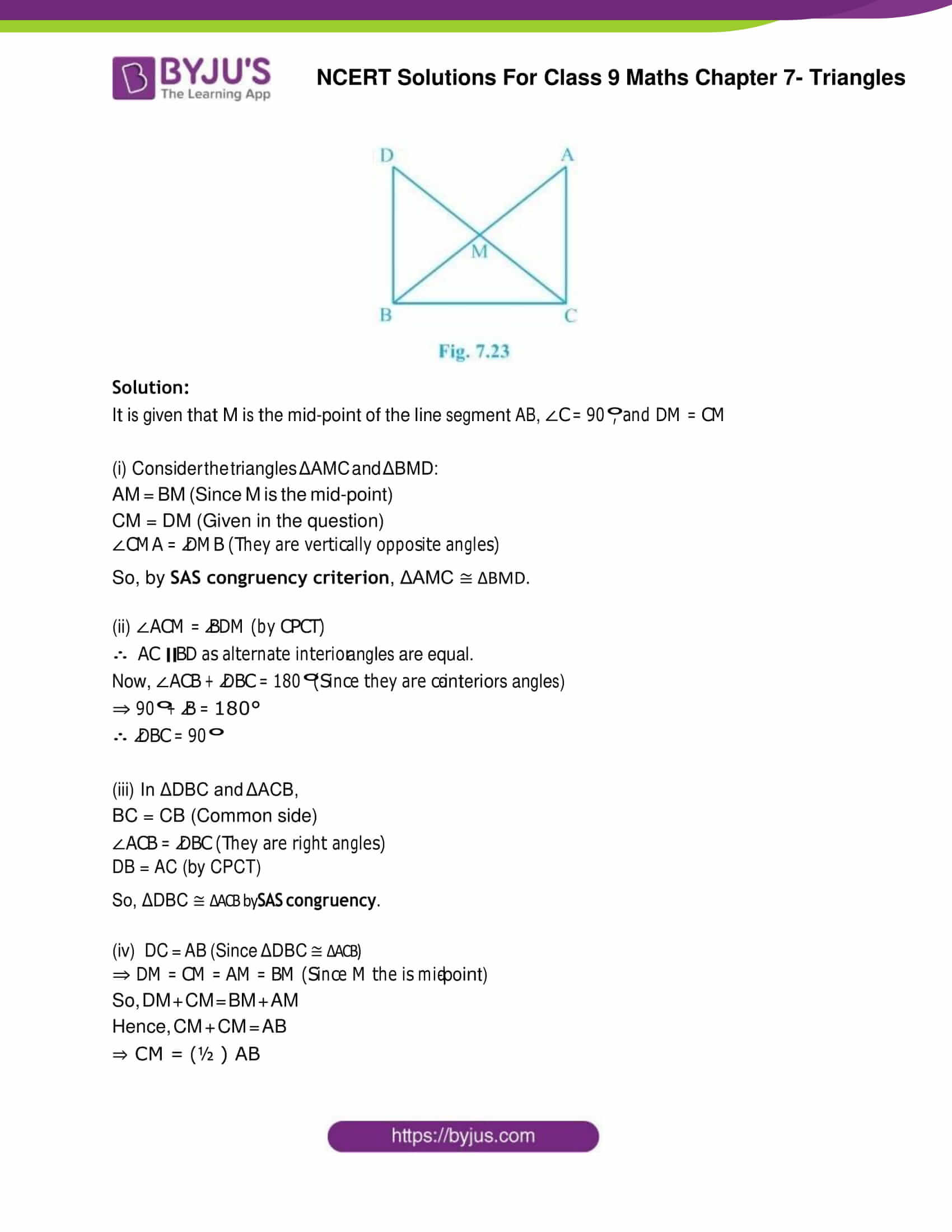 NCERT Solution Class 9 Maths Chapter 7 Triangles Exercise 7.1 Part 6