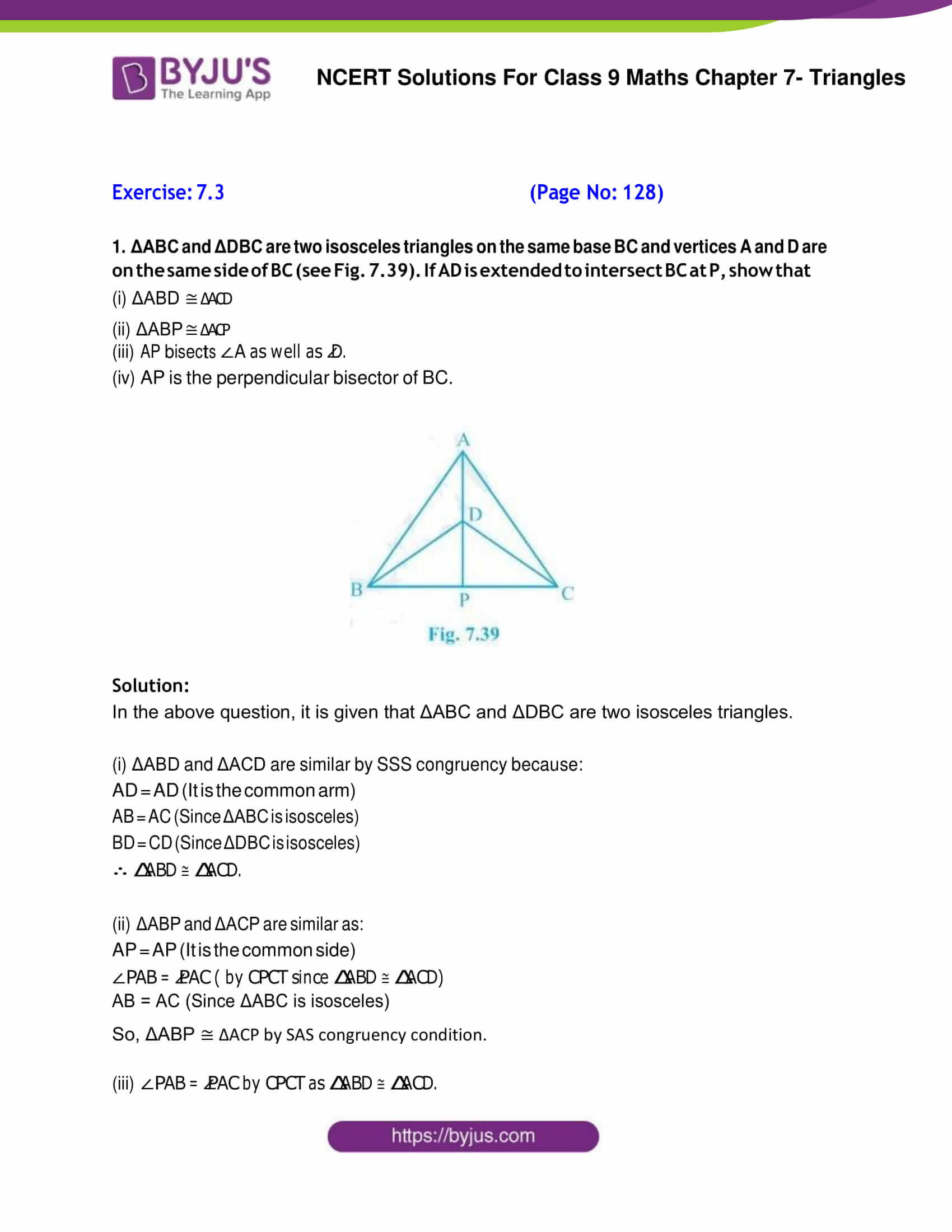 NCERT Solutions for Class 9 Maths Exercise 7 3 Chapter 7