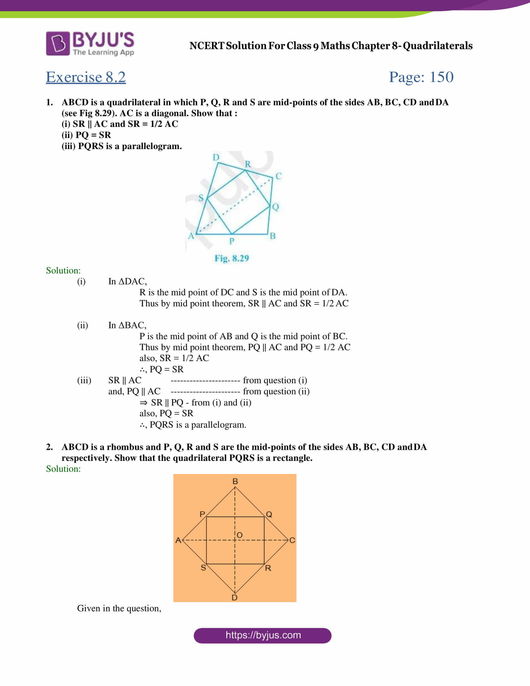 NCERT Solutions for Class 9 Maths Exercise 8 2 Chapter 8