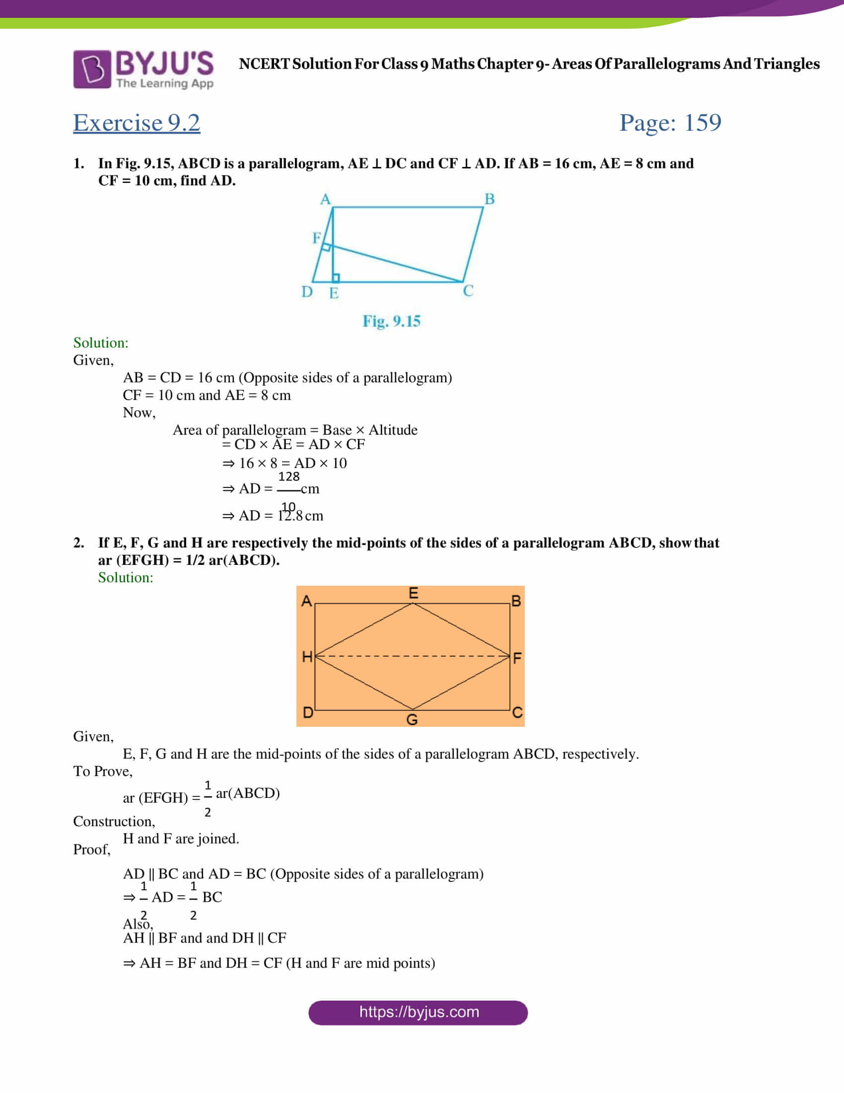 NCERT Solution Class 9 Maths Chapter 9 Areas of Parallelograms and triangles Exercise 9.2 Part 1