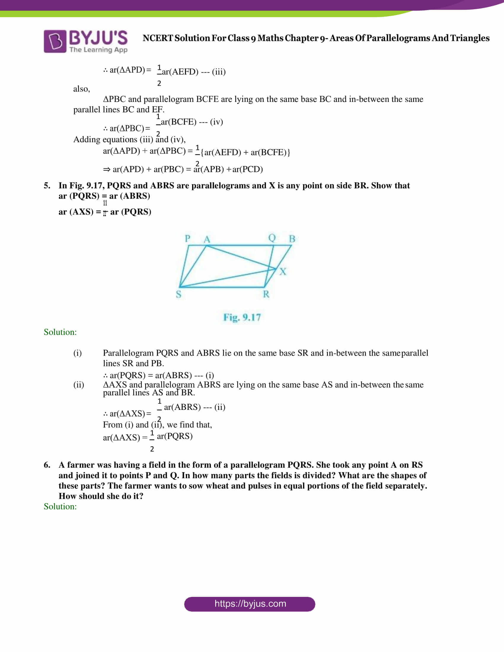 NCERT Solution Class 9 Maths Chapter 9 Areas of Parallelograms and triangles Exercise 9.2 Part 4