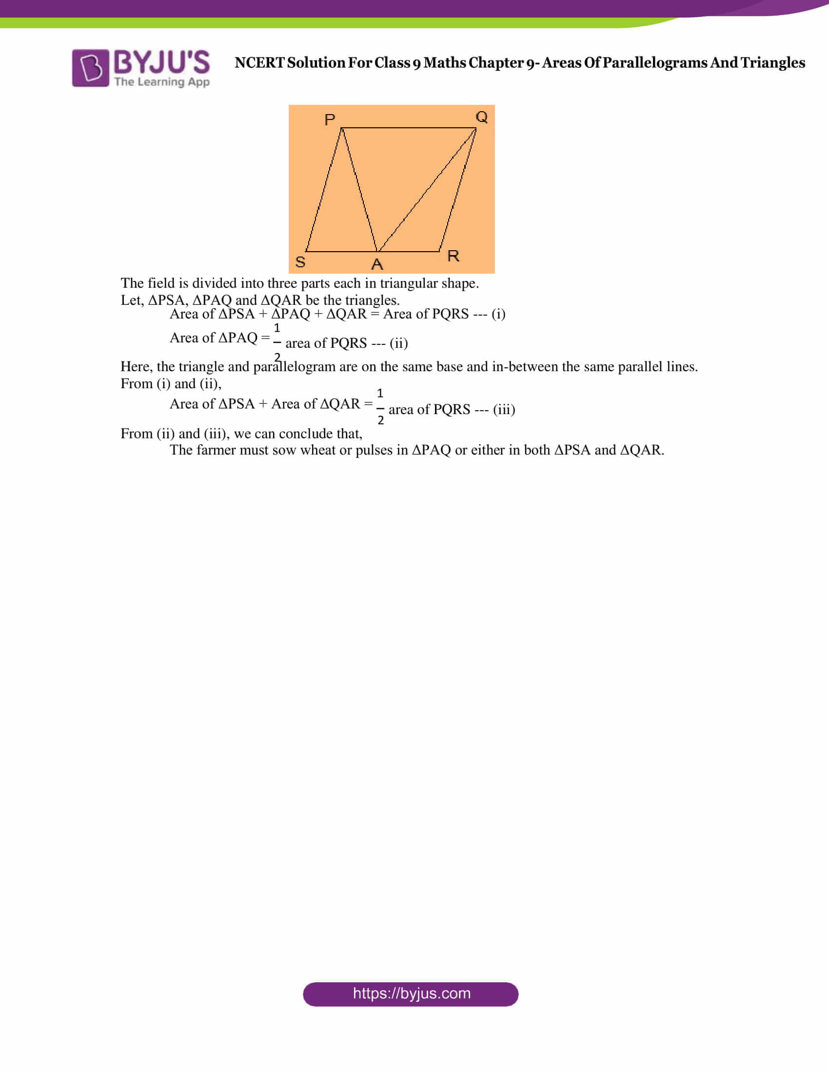 NCERT Solution Class 9 Maths Chapter 9 Areas of Parallelograms and triangles Exercise 9.2 Part 5