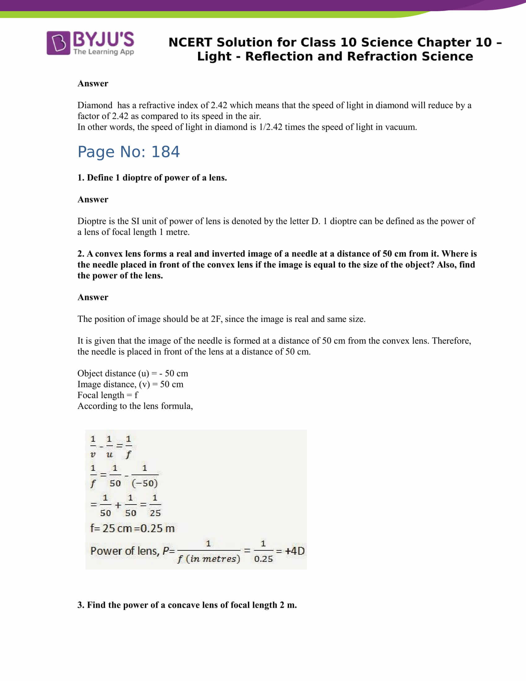 NCERT Solution for CBSE Class 10 Science Chapter 10 Light Reflection and Refraction Science Part 5